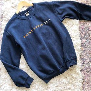 Vintage | St Louis Zoo Crewneck Blue Sweatshirt S